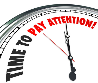 Time to Pay Attention Words Clock Listen Hear Information
